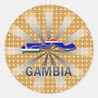 Gambia Flag Map 2.0 Round Sticker