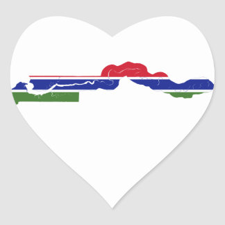 Gambia Flag Map GM Heart Sticker