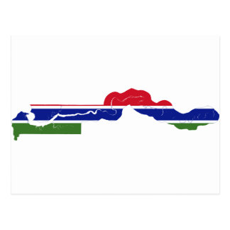 Gambia Flag Map GM Postcard
