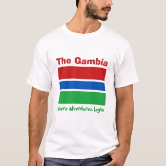 Gambia Flag + Map + Text T-Shirt