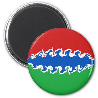 Gambia Gnarly Flag 6 Cm Round Magnet
