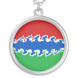 Gambia Gnarly Flag Silver Plated Necklace