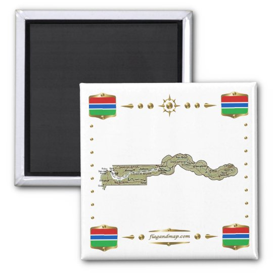 Gambia Map + Flags Magnet