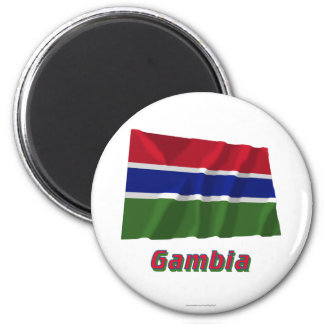 Gambia Waving Flag with Name Magnet