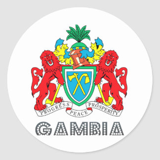 Gambian Emblem Classic Round Sticker