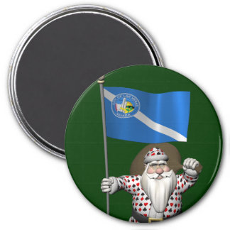 Gambler Santa Claus With Ensign Of Las Vegas 7.5 Cm Round Magnet