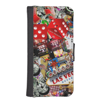 Gamblers Delight - Las Vegas Icons Background Phone Wallet Case