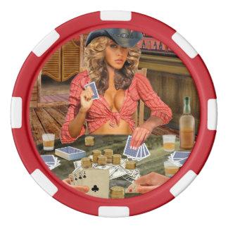 Gamblin' Cowgirl Set Of Poker Chips