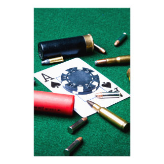 Gambling cards and bullets stationery