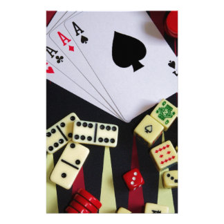 Gambling casino gaming pieces personalized stationery