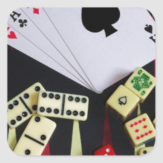 Gambling casino gaming pieces square sticker