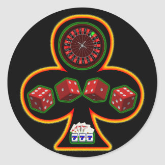 GAMBLING CLUB ROUND STICKER