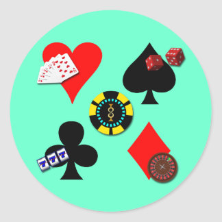 GAMBLING ICONS ROUND STICKER