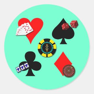 GAMBLING ICONS ROUND STICKER