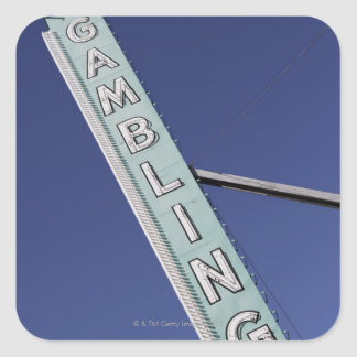 Gambling neon sign in Las Vegas, Nevada Square Sticker