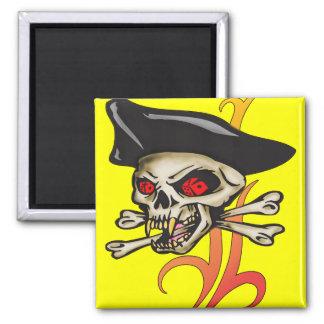 Gambling Pirate Skull Square Magnet