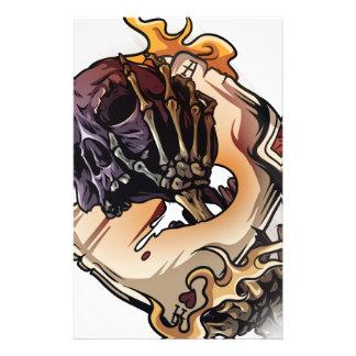 Gambling Skull Death Skeleton Poker Stationery Paper