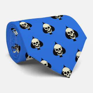 Gambling Skull Laughing Cranial Blue Tie
