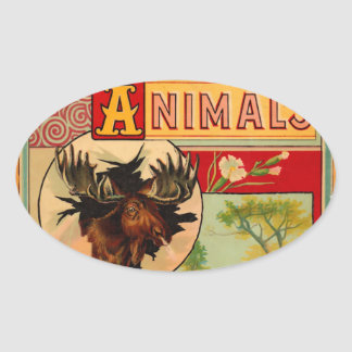 Game Animal Book Cover Oval Sticker
