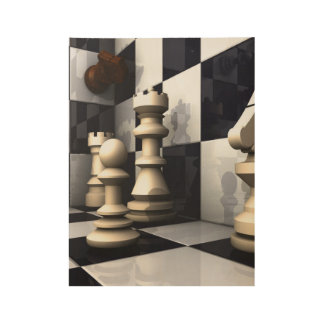 Game Chess Style Wood Poster