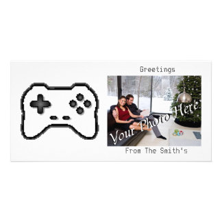 Game Controller Black White 8bit Video Game Style Custom Photo Card