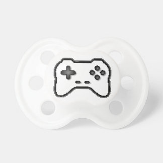 Game Controller Black White 8bit Video Game Style Baby Pacifiers