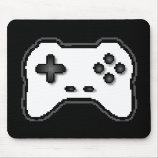 Game Controller Black White 8bit Video Game Style Mouse Pad