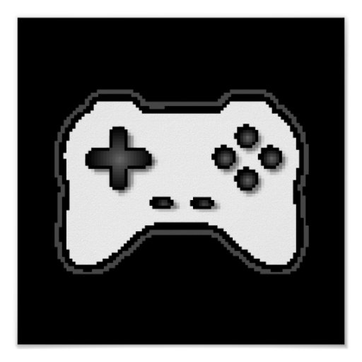 Game Controller Black White 8bit Video Game Style Posters