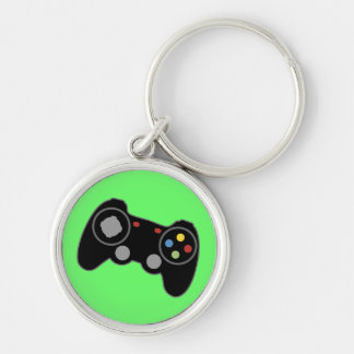 Game Controller Silver-Colored Round Key Ring