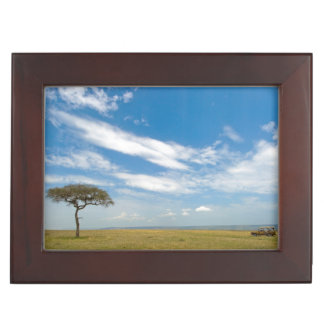 Game drive vehicle on open African plains Keepsake Box