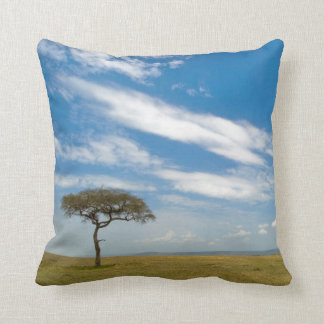 Game drive vehicle on open African plains Throw Pillow