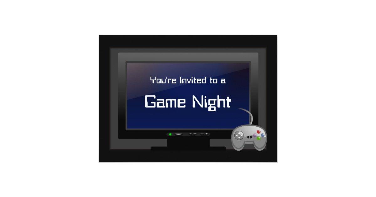Game Night, Plasma Video Gaming Party Invitation | Zazzle.co.uk