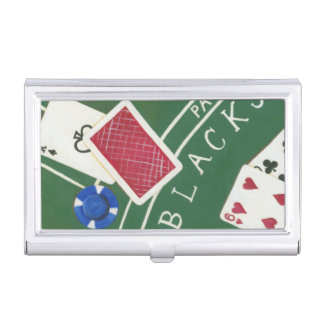 Game of Blackjack with Chips by Chariklia Zarris Business Card Holder