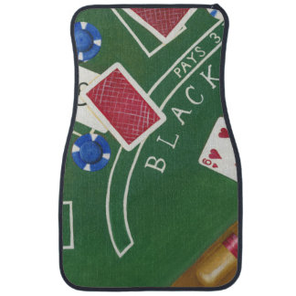 Game of Blackjack with Chips by Chariklia Zarris Car Mat