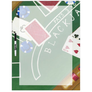 Game of Blackjack with Chips by Chariklia Zarris Dry Erase Board