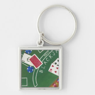 Game of Blackjack with Chips by Chariklia Zarris Key Ring