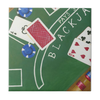 Game of Blackjack with Chips by Chariklia Zarris Tile