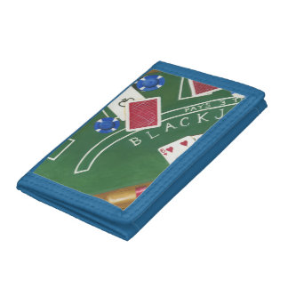 Game of Blackjack with Chips by Chariklia Zarris Tri-fold Wallets