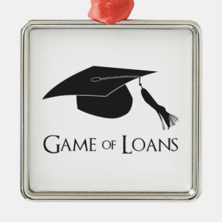 Game of College Graduation Loans Silver-Colored Square Decoration