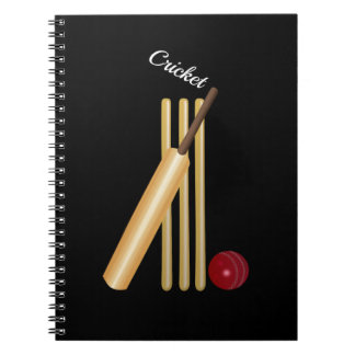 Game of Cricket, Bat and Ball, White Text Notebook