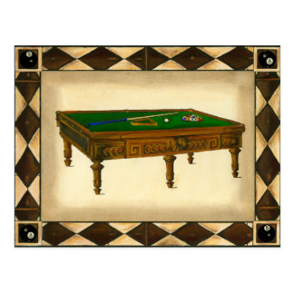 Game of Eight Ball on Billiards Table Postcard