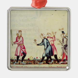 Game of pelota in the open air Silver-Colored square decoration
