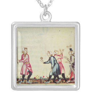 Game of pelota in the open air silver plated necklace
