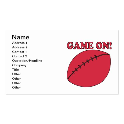 Game On Business Card