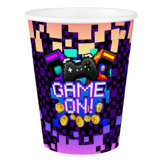 GAME ON! Custom purple Paper Cup, 9 oz Paper Cup