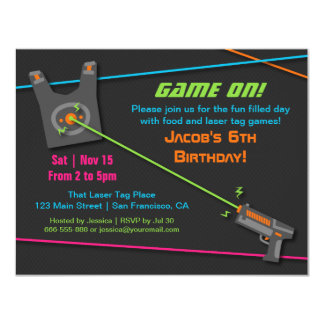 Game On Fun Laser Tag Birthday Party Card