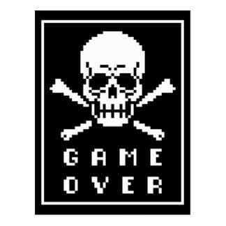Game Over 8-Bit Skull And Crossbones Postcards