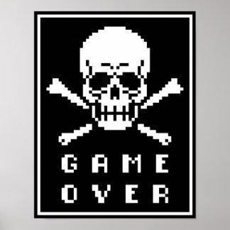 Game Over 8-Bit Skull Crossbones Pixel Art Poster