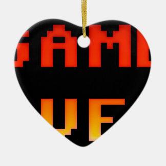 Game over 8bit retro ceramic heart decoration
