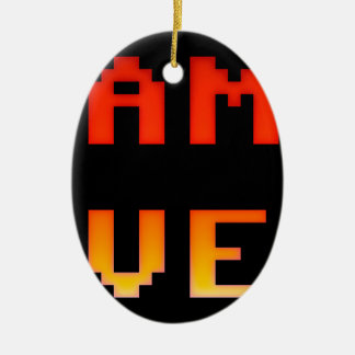 Game over 8bit retro ceramic oval decoration